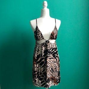 Cut Out Tie Back Leopard Print Dress